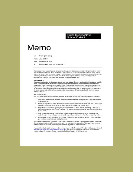 huron intermediate school district memo