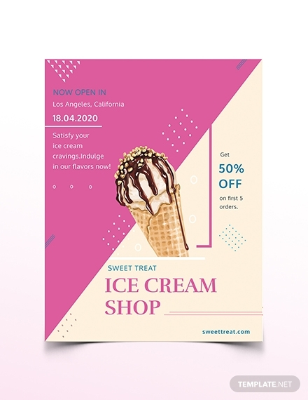 ice cream shop flyer