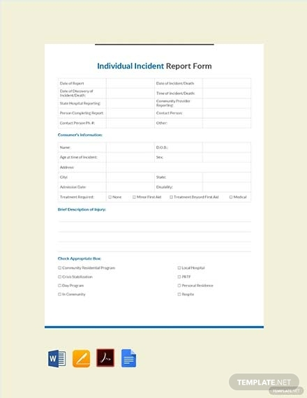 individual incident report form