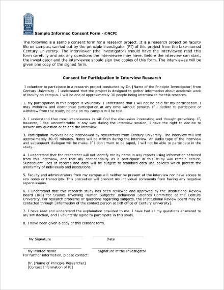 informed consent form sample