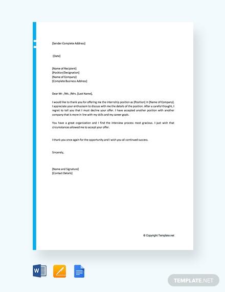 internship offer rejection letter