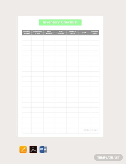 inventory checklist