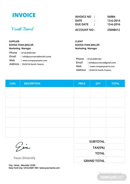 invoice format outline sample