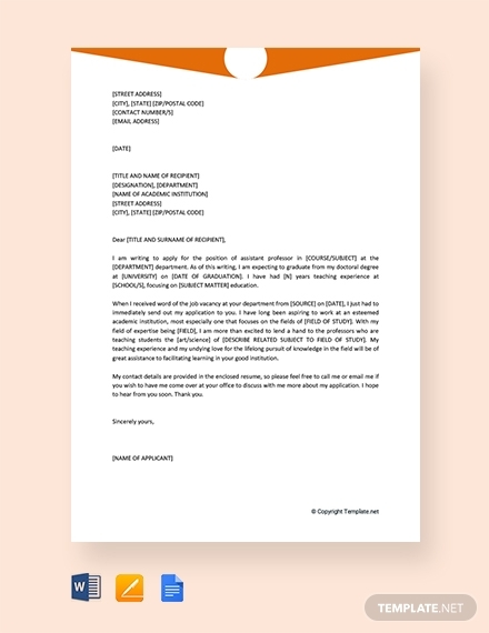 job application letter for assistant professor
