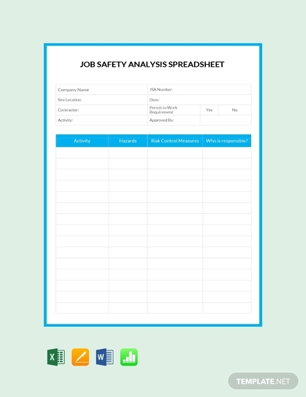 job safety analysis spreadsheet