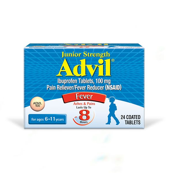 junior strength advil box label