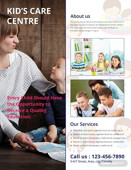 kids care advertising flyer