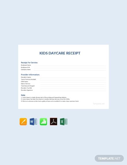 kids daycare receipt