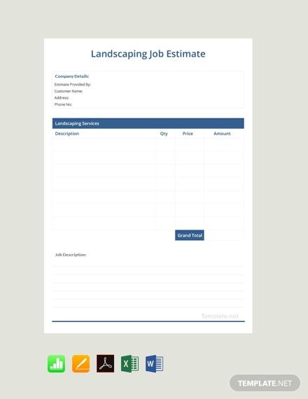 landscaping job estimate sheet