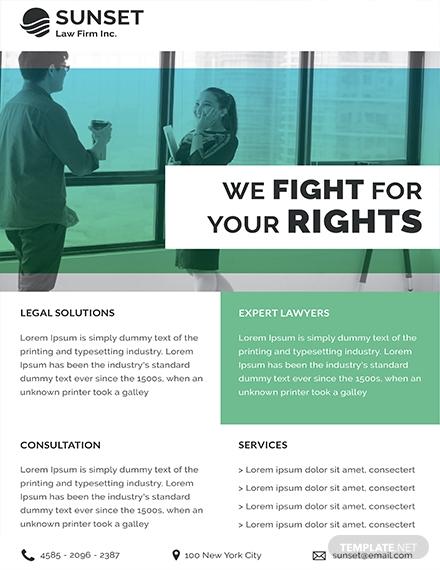 law firm datasheet design