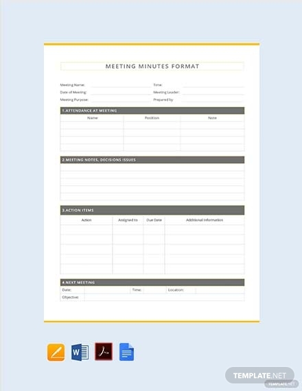 meeting minutes format