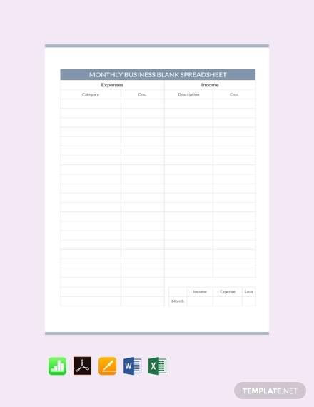 monthly business blank spreadsheet