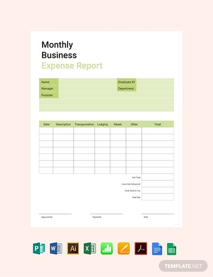 monthly business expense report