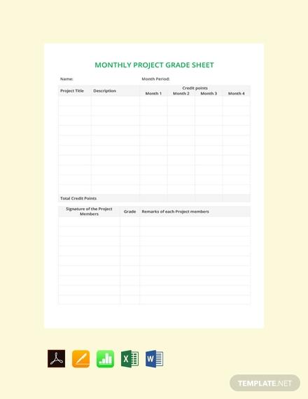 monthly grade sheet