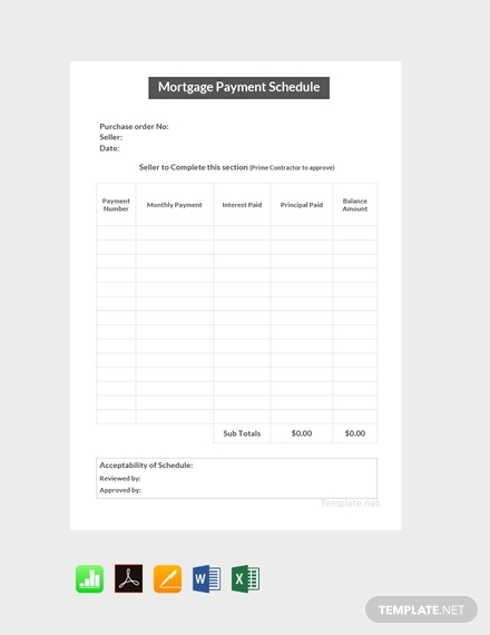 mortgage payment schedule template
