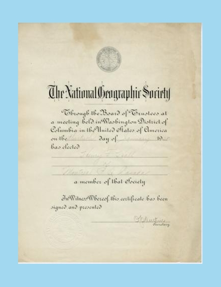 national geographic society membership certificate