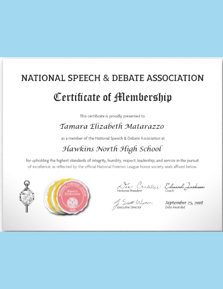 national speech and debate association membership certificate
