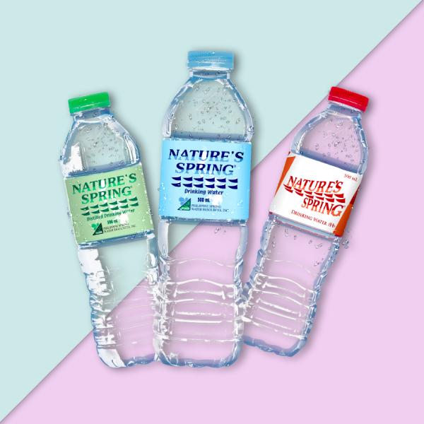 nature spring water bottle label