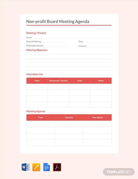 non profit board meeting agenda