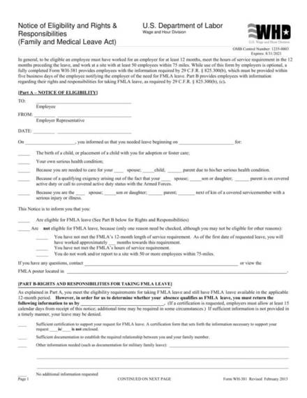notice of eligibility and rights responsibilities