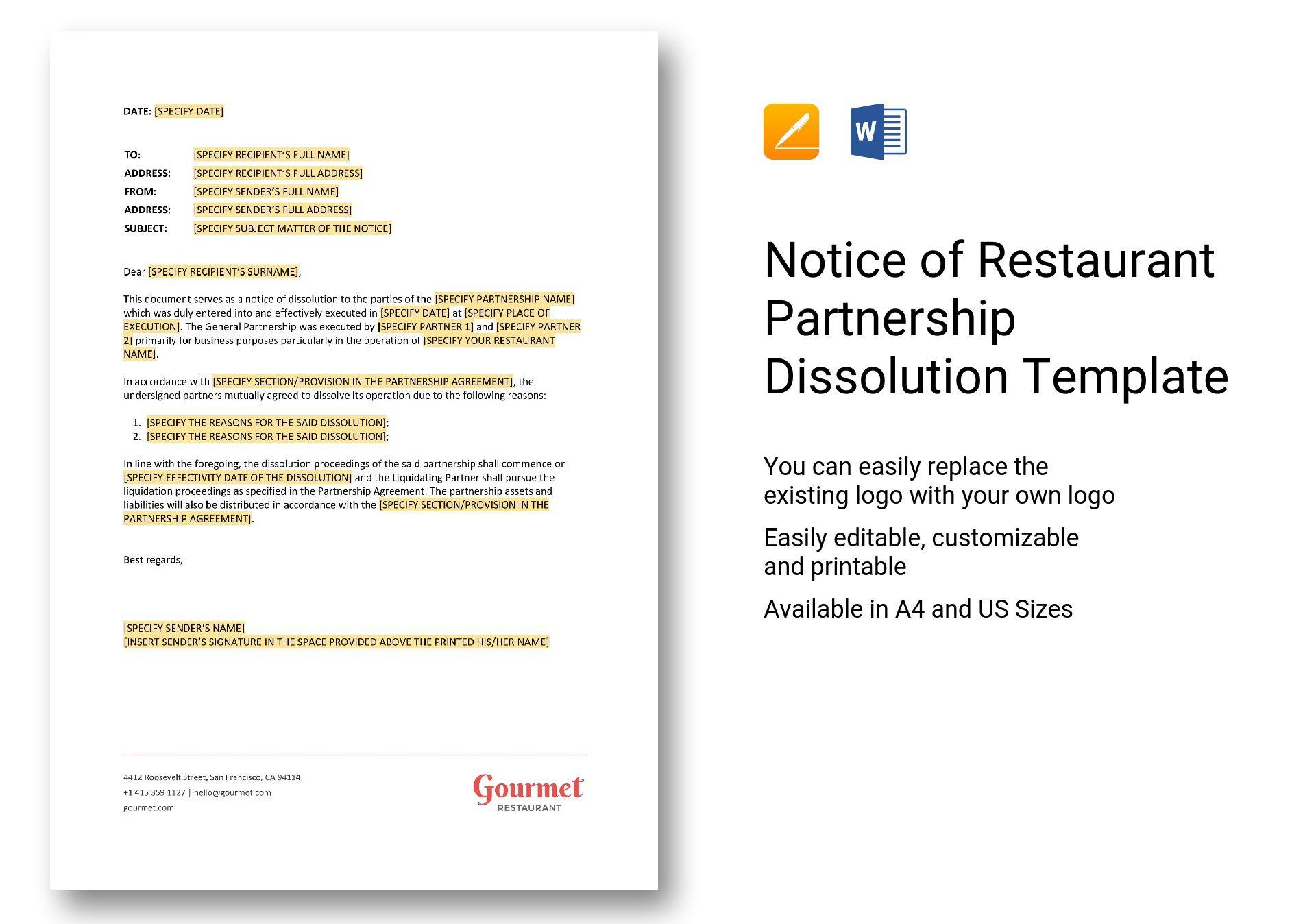 notice of restaurant partnership dissolution
