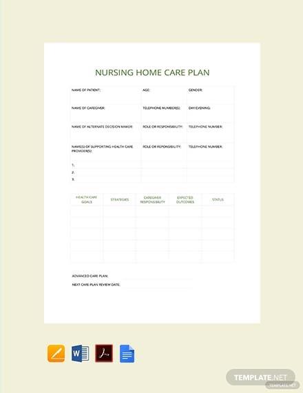nursing home care plan