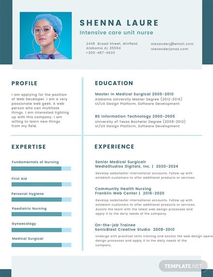nursing student cv template