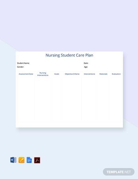 nursing student care plan