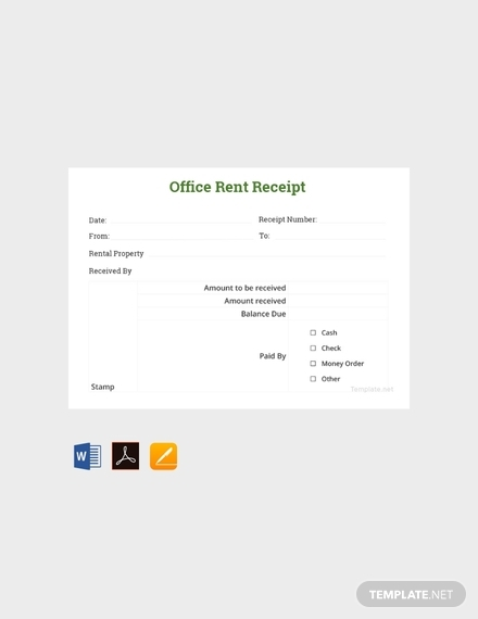 office rent receipt sample template