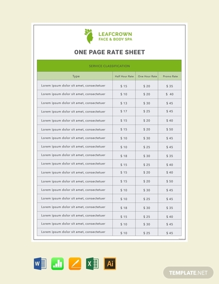 one page rate sheet