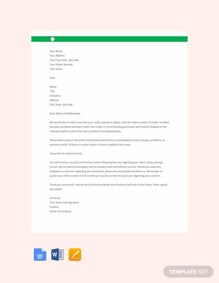 order acknowledgement letter