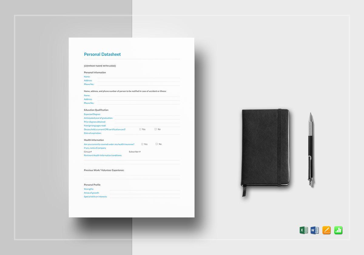 personal datasheet