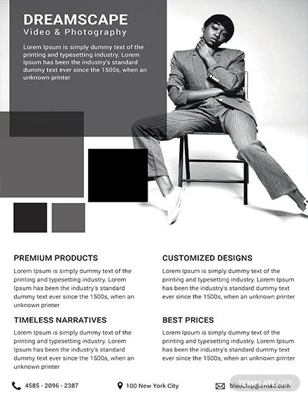 photography studio datasheet design