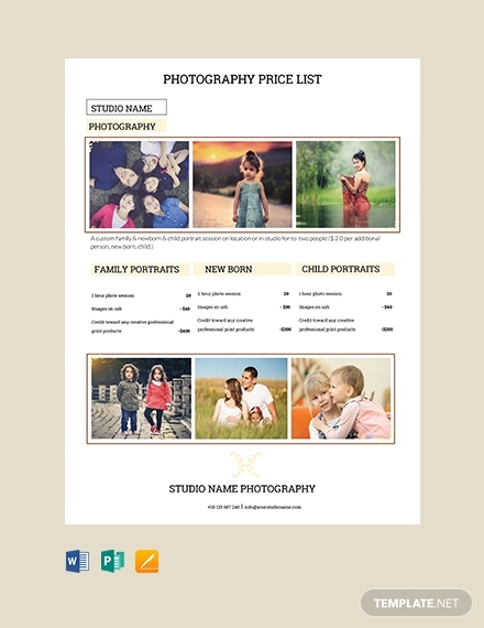 photography studio price list