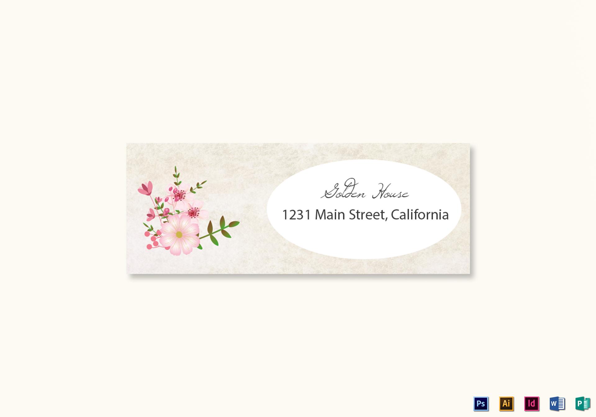 pink floral wedding address labels card