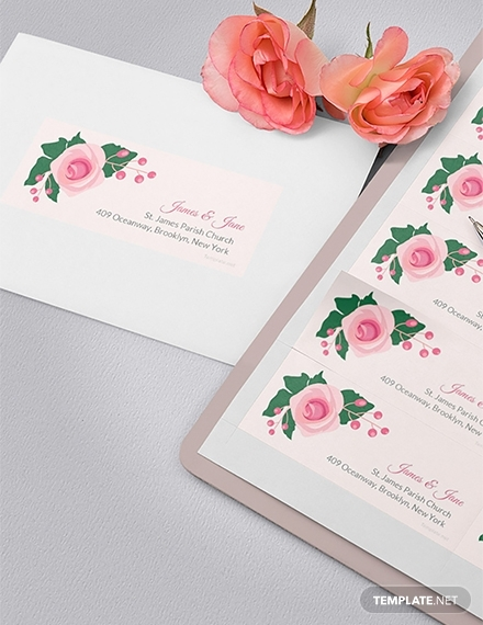 pink wedding address label