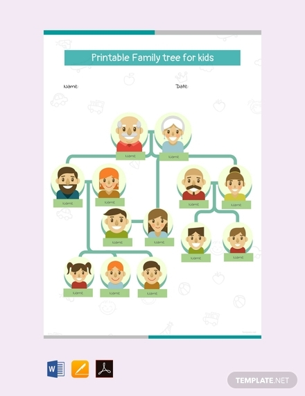 printable family tree for kids template