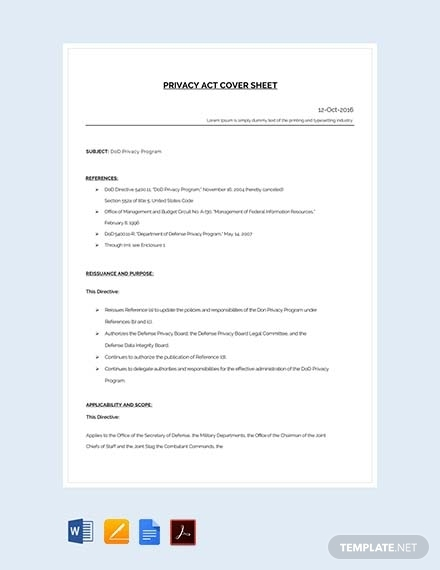 privacy act cover sheet