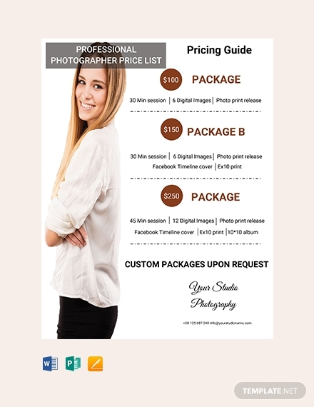 professional photographer price list
