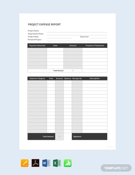 project expense report sample