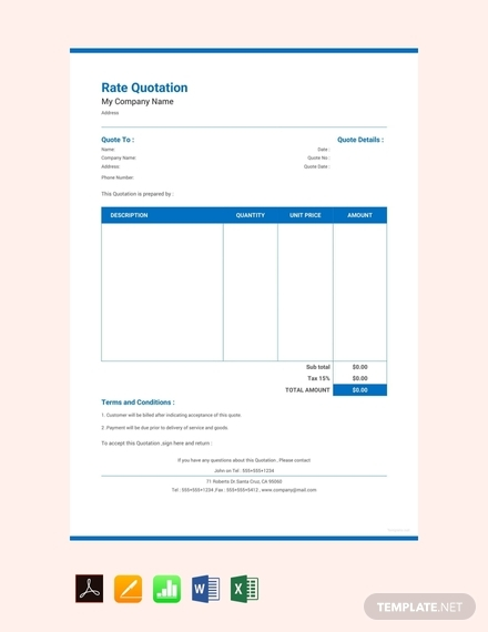 rate quotation sample template