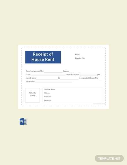 receipt template of house rent sample