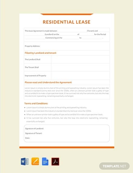 residential lease contract