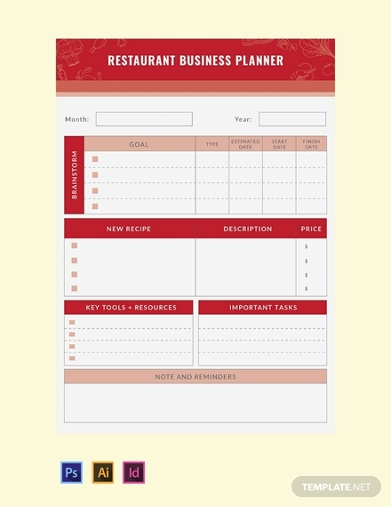 restaurant business planner