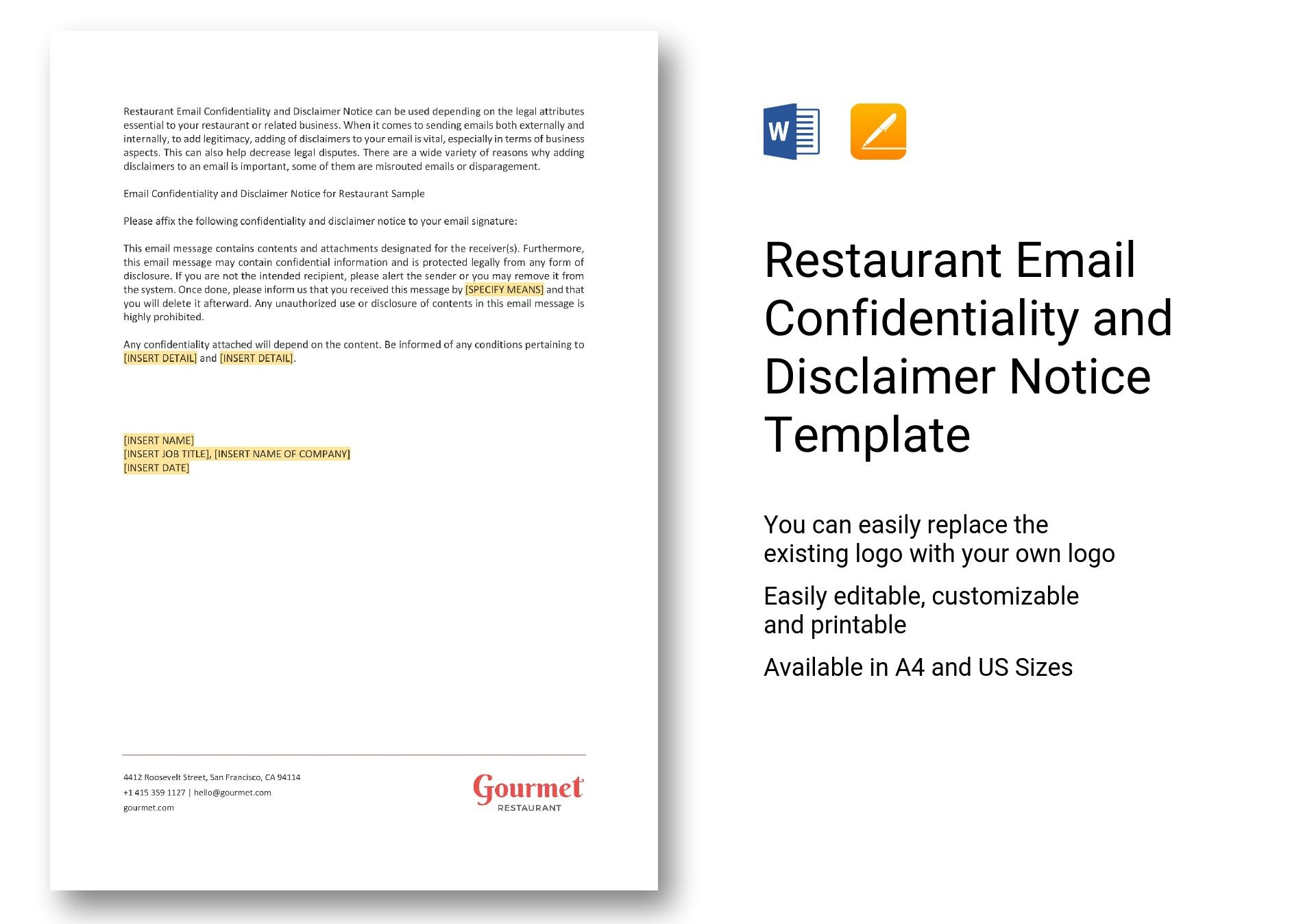 restaurant email confidentiality and disclaimer notice