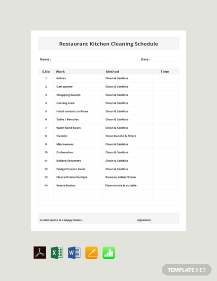 restaurant kitchen cleaning schedule