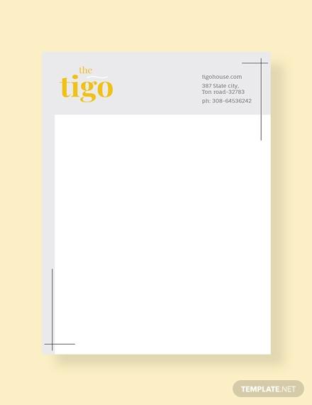 restaurant letterhead