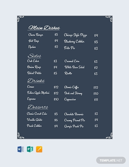 restaurant menu price list