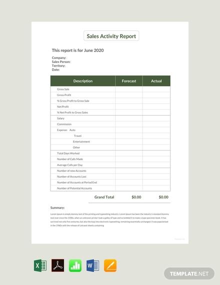 sales activity report