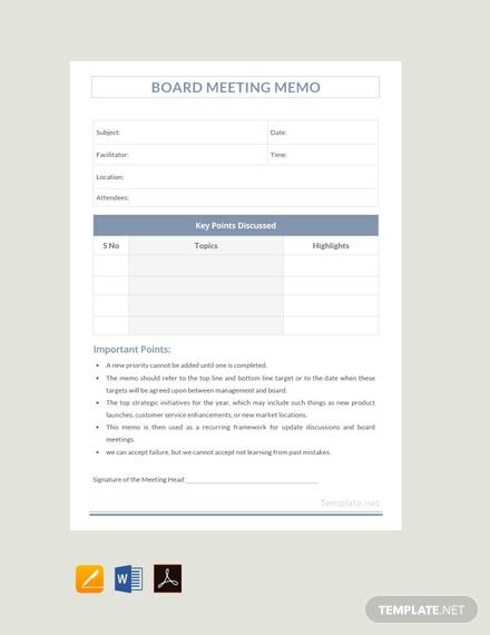 sample board meeting memo